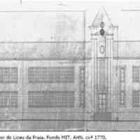 Desenho da parte exterior do edifício do Liceu da Praia. Fundo MIT. AHN, cxª 1770.png